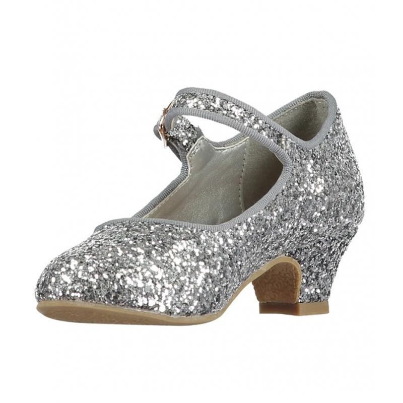 Angels Face sko med hæl, sølv glimmer - Angels Face