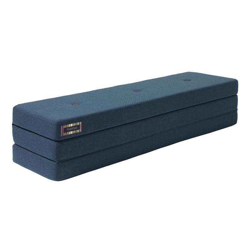 Image of   byKlipKlap 3-fold madras, 180 cm mørkeblå m sort knap