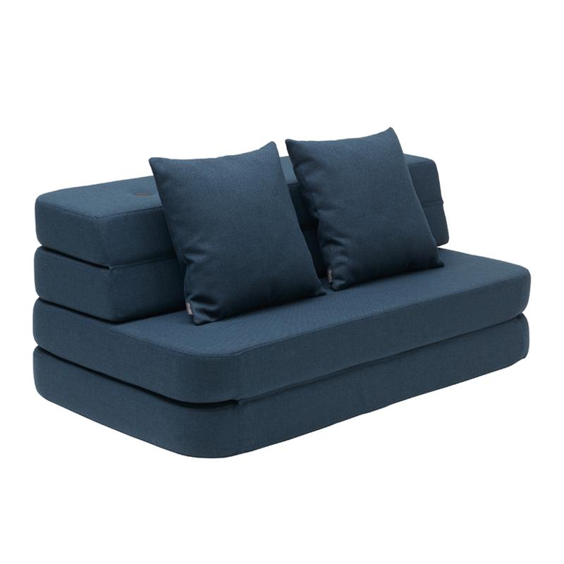 Image of   byKlipKlap 3-fold sofa, 120 cm blå m sort knap