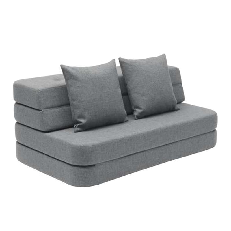 Image of   byKlipKlap 3-fold sofa, 120 cm blågrå m grå knap