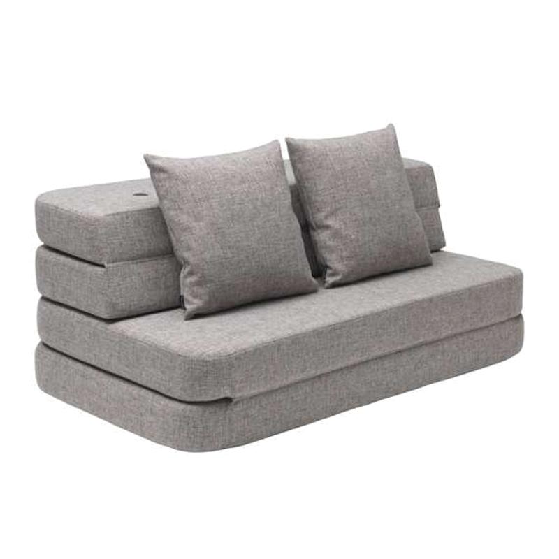 Image of   byKlipKlap 3-fold sofa, 120 cm grå m grå knap