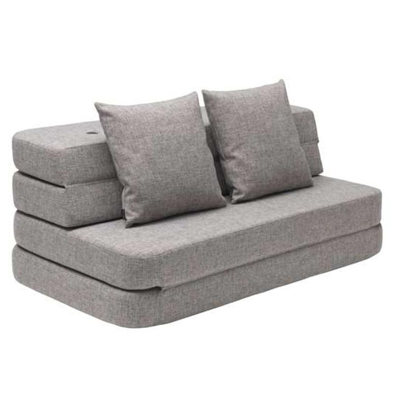 Image of   byKlipKlap 3-fold sofa, 140 cm grå m grå knap