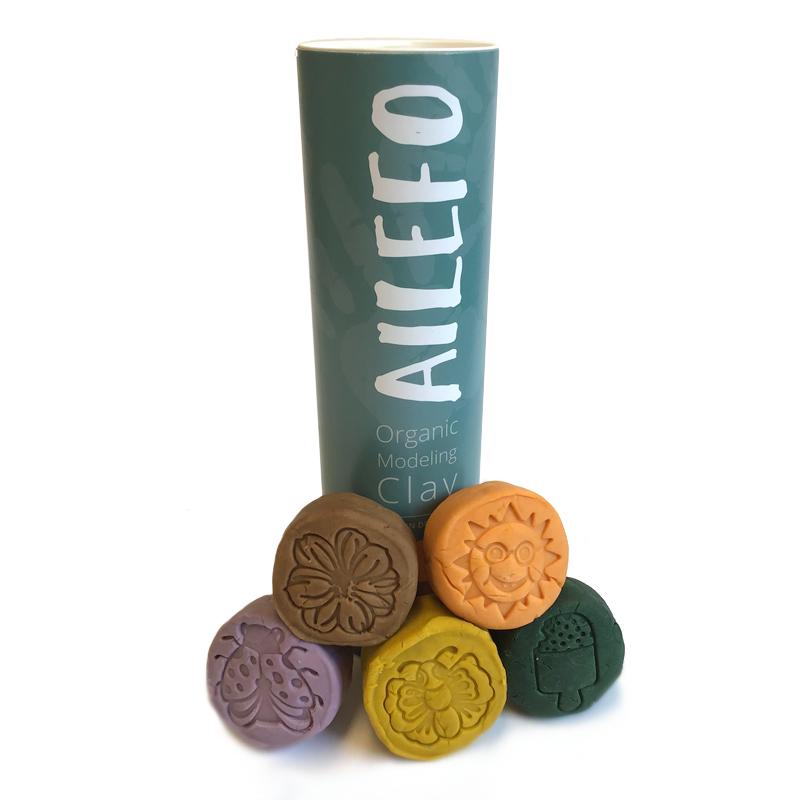 Image of   Ailefo økologisk modellervoks, tube med 5 farver spring - lille
