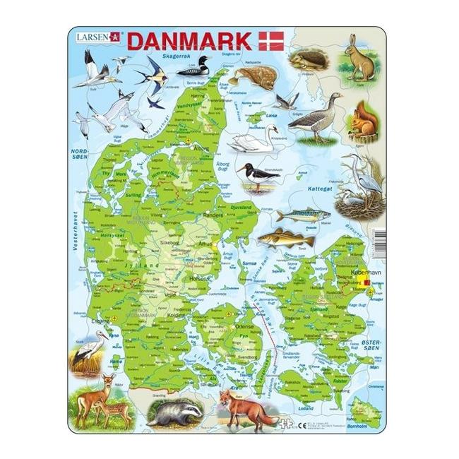 Image of Larsen Puslespil Danmarkskort, 66 brikker