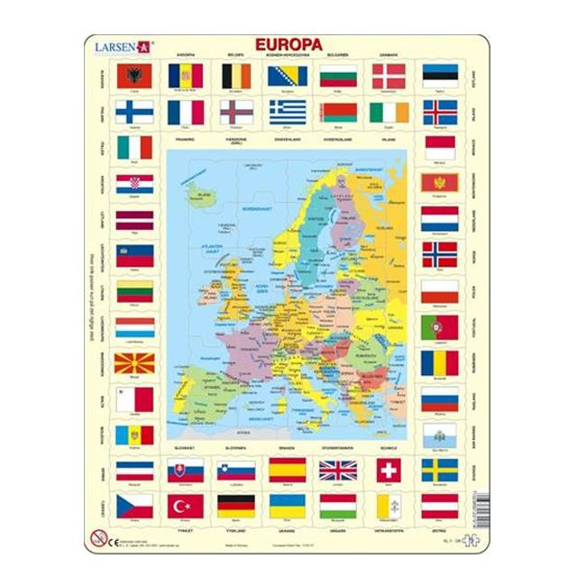 Image of Larsen Puslespil Europakort med flag, 70 brikker
