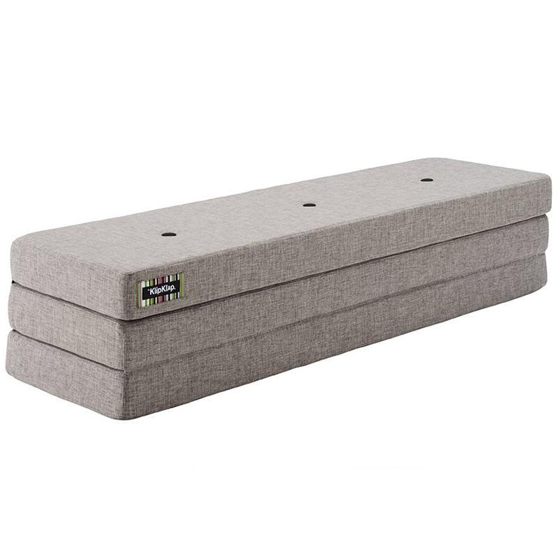 Image of   byKlipKlap 3-fold madras, 200 cm multigrå med grå knap