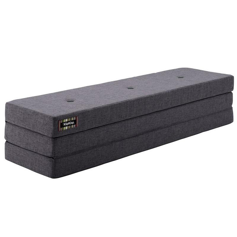 Image of   byKlipKlap 3-fold madras, 200 cm blågrå med grå knapper
