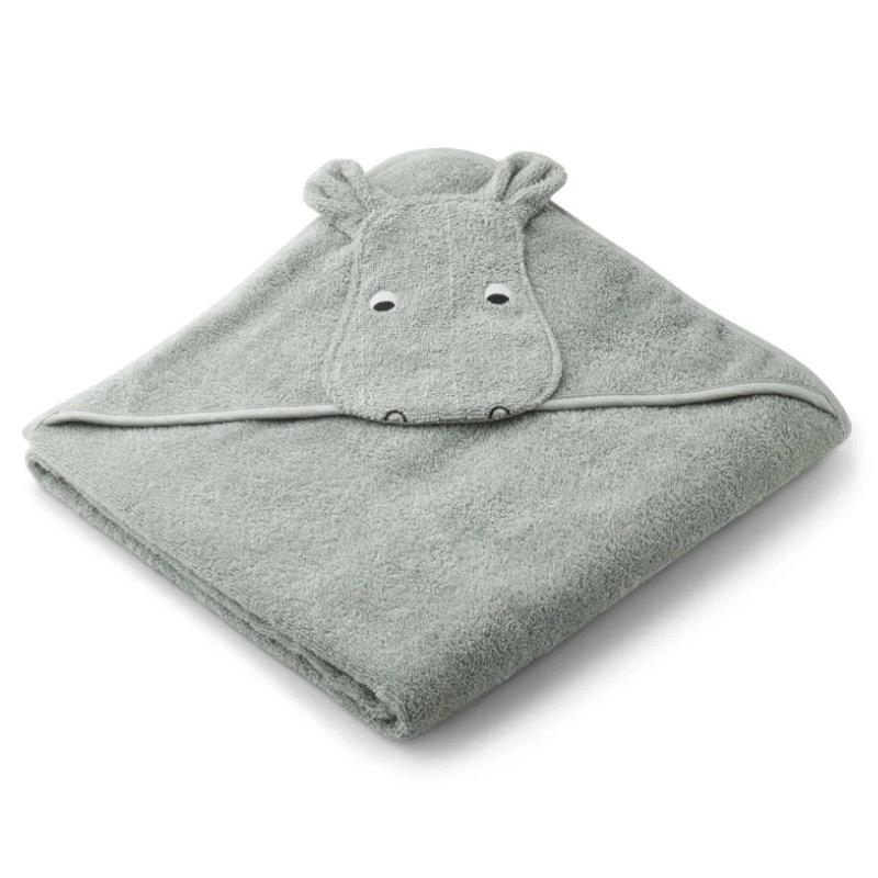 Liewood babyhåndklæde med hætte, flodhest dove blue