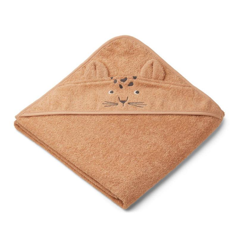 Liewood babyhåndklæde med hætte, leopard apricot