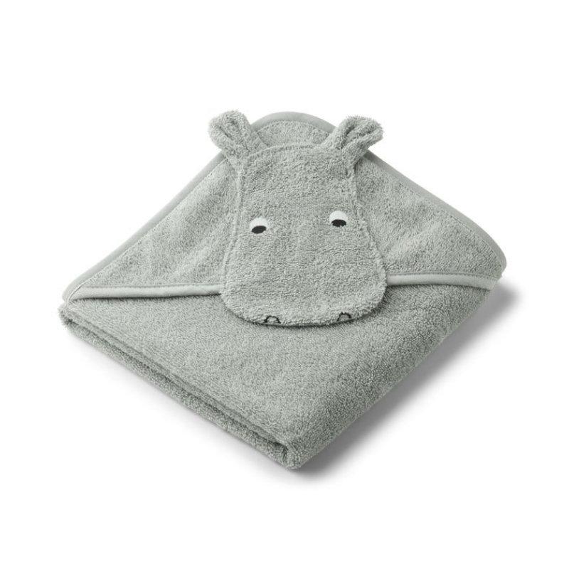 Liewood lille babyhåndklæde, flodhest dove blue