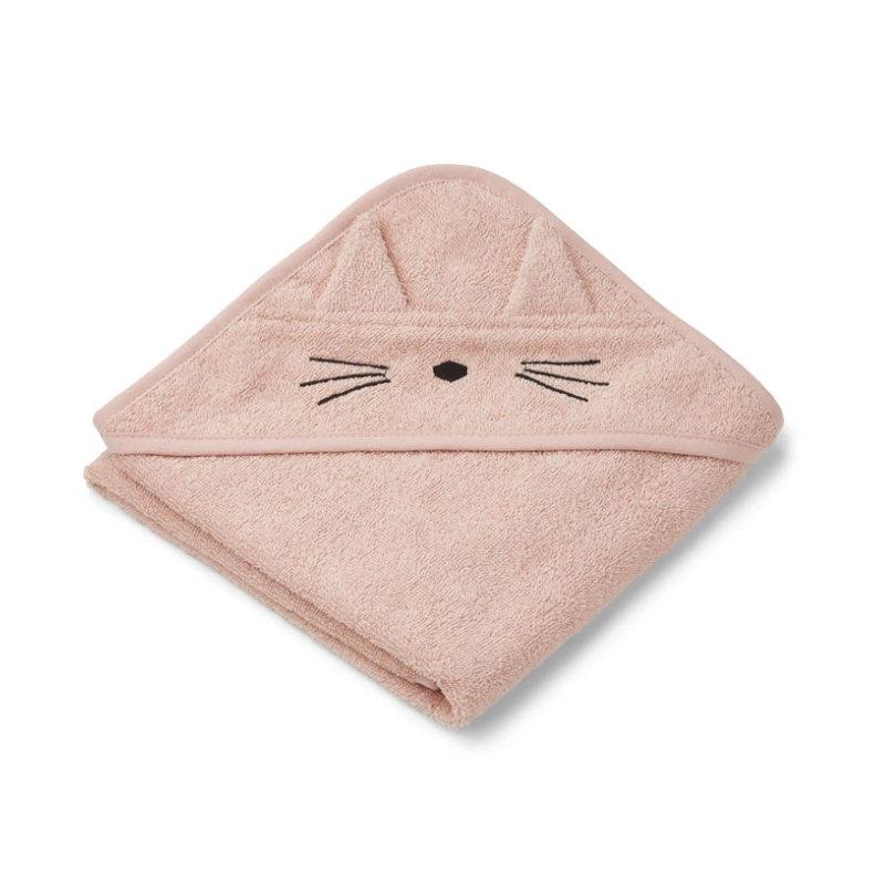 Liewood lille babyhåndklæde, kat rose