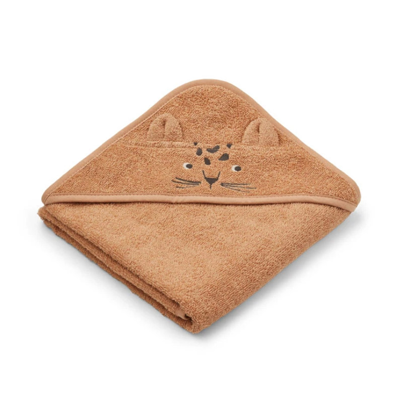 Liewood lille babyhåndklæde, leopard apricot