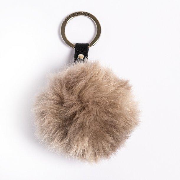 Sofie Schnoor nøglering, fake fur pompom - grå - OUTLET